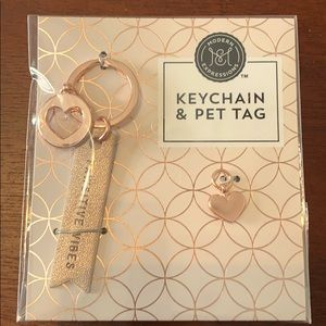 Rose gold pet keychain & pet tag.